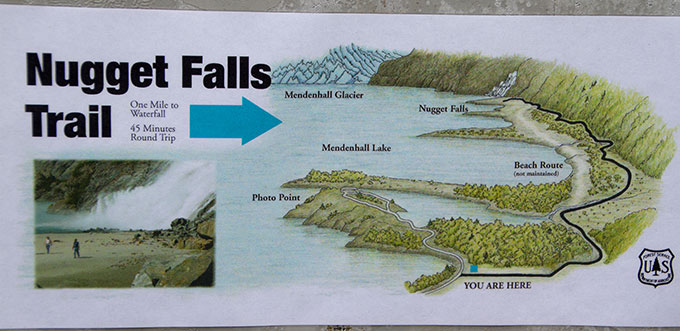 Nugget Falls Trail Map, Juneau